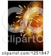 Clipart Of A Background Of Orange Fireworks On Black Royalty Free Vector Illustration by dero