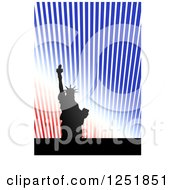 Clipart Of A Silhouetted Statue Of Liberty And Rays With A White Bottom Border Royalty Free Illustration