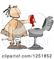 Clipart Of A Caveman Squeezing Ketchup On Meat On A Bbq Grill Royalty Free Vector Illustration