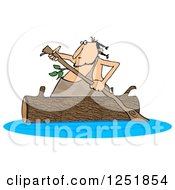 Caveman Rowing A Log Canoe On A River