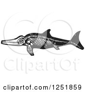 Clipart Of A Black And White Woodcut Ichthyosaur Dinosaur Fossil Royalty Free Vector Illustration