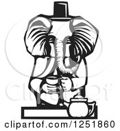 Clipart Of A Black And White Woodcut Tea Party Elephant Royalty Free Vector Illustration