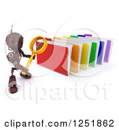 Clipart Of A 3d Red Android Robot Using A Magnifying Glass To Search Folders Royalty Free Illustration