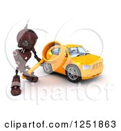 Clipart Of A 3d Red Android Robot Using A Magnifying Glass To Search For A Car Royalty Free Illustration