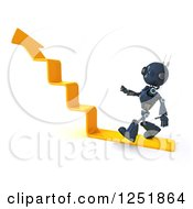 Clipart Of A 3d Blue Android Robot Walking Up Arrow Steps Royalty Free Illustration