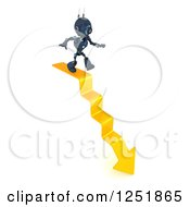 3d Blue Android Robot Walking Down Arrow Steps
