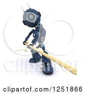 3d Blue Android Robot Pulilng A Rope