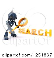 Clipart Of A 3d Blue Android Robot Using A Magnifying Glass To Search Royalty Free Illustration