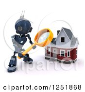 Clipart Of A 3d Blue Android Robot Using A Magnifying Glass To Search A Home Royalty Free Illustration