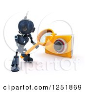 Clipart Of A 3d Blue Android Robot Using A Magnifying Glass To Search A Locked Folder Royalty Free Illustration
