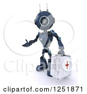 Clipart Of A 3d Blue Android Robot Paramedic Carrying A First Aid Kit Royalty Free Illustration