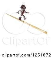 Clipart Of A 3d Red Android Robot Crossing A Tight Rope Royalty Free Illustration