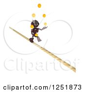 Clipart Of A 3d Red Android Robot Juggling And Crossing A Tight Rope Royalty Free Illustration