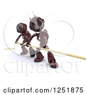 Clipart Of 3d Red Android Robots Pulling A Rop In Tug Of War Royalty Free Illustration