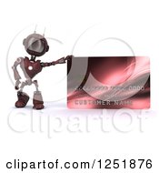 Clipart Of A 3d Red Android Robot With A Giant Credit Card Royalty Free Illustration by KJ Pargeter