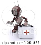 Clipart Of A 3d Red Android Robot Paramedic Using A Stethoscope By A First Aid Kit Royalty Free Illustration