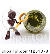 Clipart Of A 3d Red Android Robot Using A Magnifying Glass To Search A Globe Royalty Free Illustration