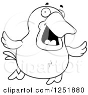 Clipart Of A Black And White Happy Flying Duck Royalty Free Vector Illustration by Cory Thoman