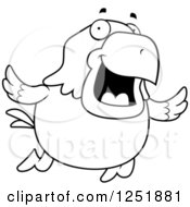 Clipart Of A Black And White Flying Happy Bald Eagle Royalty Free Vector Illustration