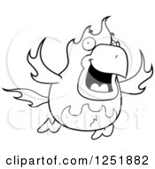Clipart Of A Black And White Flying Fire Bird Phoenix Royalty Free Vector Illustration