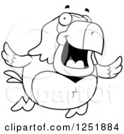 Clipart Of A Black And White Happy Parrot Flying Royalty Free Vector Illustration by Cory Thoman