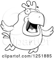 Clipart Of A Black And White Happy Flying Rooster Royalty Free Vector Illustration by Cory Thoman