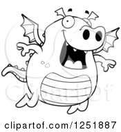 Clipart Of A Black And White Happy Dragon Flying Royalty Free Vector Illustration