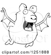 Clipart Of A Black And White Happy Vampire Bat Flying Royalty Free Vector Illustration