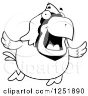Clipart Of A Black And White Happy Cardinal Bird Flying Royalty Free Vector Illustration