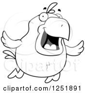 Clipart Of A Black And White Happy Flying Chick Royalty Free Vector Illustration by Cory Thoman