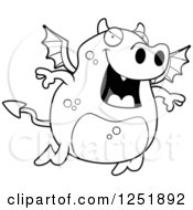 Clipart Of A Black And White Flying Devil Royalty Free Vector Illustration