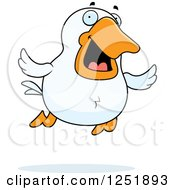 Clipart Of A Happy Flying Duck Royalty Free Vector Illustration by Cory Thoman