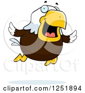 Clipart Of A Flying Happy Bald Eagle Royalty Free Vector Illustration by Cory Thoman