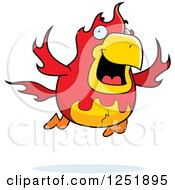 Clipart Of A Flying Fire Bird Phoenix Royalty Free Vector Illustration