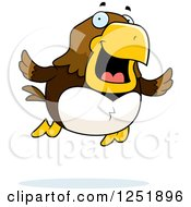 Clipart Of A Flying Happy Hawk Royalty Free Vector Illustration