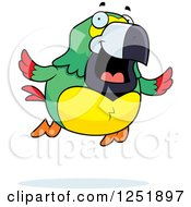 Clipart Of A Colorful Happy Parrot Flying Royalty Free Vector Illustration