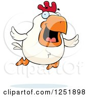 Clipart Of A Happy Flying Rooster Royalty Free Vector Illustration by Cory Thoman