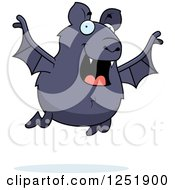 Clipart Of A Happy Vampire Bat Flying Royalty Free Vector Illustration by Cory Thoman