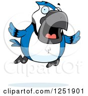 Clipart Of A Happy Flying Blue Jay Royalty Free Vector Illustration by Cory Thoman