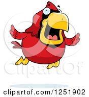 Clipart Of A Happy Red Cardinal Bird Flying Royalty Free Vector Illustration by Cory Thoman
