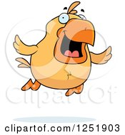 Clipart Of A Happy Flying Chick Royalty Free Vector Illustration