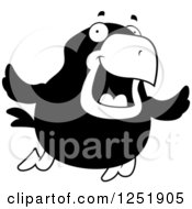 Clipart Of A Black And White Happy Crow Flying Royalty Free Vector Illustration