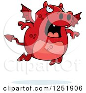 Clipart Of A Flying Red Devil Royalty Free Vector Illustration
