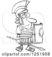 Clipart Of A Black And White Cartoon Roman Soldier Standing With A Spear And Shield Royalty Free Vector Illustration