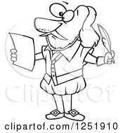 Clipart Of A Black And White Cartoon Shakespeare Writing A Play Royalty Free Vector Illustration