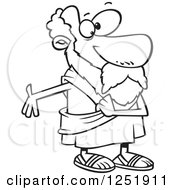 Clipart Of A Black And White Cartoon Socrates Gesturing Royalty Free Vector Illustration