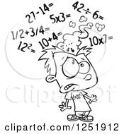 Clipart Of A Black And White Boy Getting A Sore Head From Math Royalty Free Vector Illustration