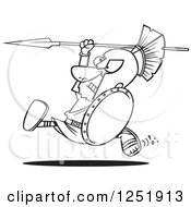 Clipart Of A Black And White Cartoon Spartan Warrior Running With A Spear And Shield Royalty Free Vector Illustration