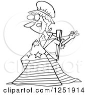 Clipart Of A Black And White Cartoon Betsy Ross Sewing The First American Flag Royalty Free Vector Illustration