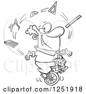Clipart Of A Black And White Cartoon Male Math Teacher Juggling On A Unicycle Royalty Free Vector Illustration